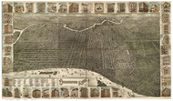 Philadelphia, Pennsylvania 1886 Bird's Eye View - Old Map Reprint - Houses