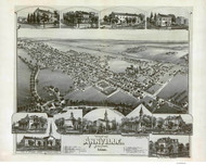 Annville, Pennsylvania 1888 Bird's Eye View - Old Map Reprint