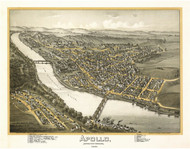 Apollo, Pennsylvania 1896 Bird's Eye View - Old Map Reprint