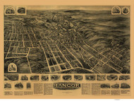 Bangor, Pennsylvania 1918 Bird's Eye View - Old Map Reprint