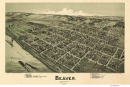 Beaver, Pennsylvania 1900 Bird's Eye View - Old Map Reprint