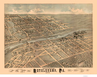 Bethlehem and South Bethlehem, Pennsylvania 1878 Bird's Eye View - Old Map Reprint