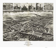 Burnham and Yeagertown, Pennsylvania 1906 Bird's Eye View - Old Map Reprint