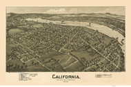 California, Pennsylvania 1902 Bird's Eye View - Old Map Reprint