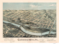 Catasauqua, Pennsylvania 1873 Bird's Eye View - Old Map Reprint