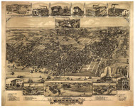 Chester, Pennsylvania 1885 Bird's Eye View - Old Map Reprint