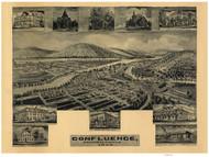 Confluence, Pennsylvania 1905 Bird's Eye View - Old Map Reprint