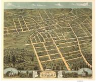 Corry, Pennsylvania 1870 Bird's Eye View - Old Map Reprint