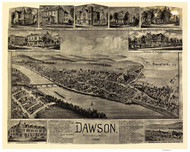 Dawson, Pennsylvania 1902 Bird's Eye View - Old Map Reprint