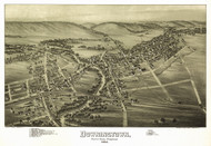 Downingtown, Pennsylvania 1893 Bird's Eye View - Old Map Reprint