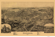 Dunmore, Pennsylvania 1892 Bird's Eye View - Old Map Reprint