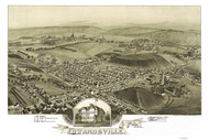 Edwardsville, Pennsylvania 1892 Bird's Eye View - Old Map Reprint
