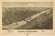 Elizabeth and West Elizabeth, Pennsylvania 1897 Bird's Eye View - Old Map Reprint