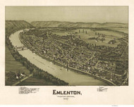 Emlenton, Pennsylvania 1897 Bird's Eye View - Old Map Reprint