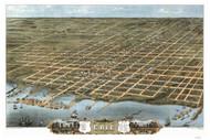 Erie, Pennsylvania 1870 Bird's Eye View - Old Map Reprint