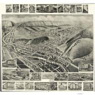 Everett, Pennsylvania 1905 Bird's Eye View - Old Map Reprint