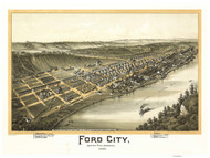 Ford City, Pennsylvania 1896 Bird's Eye View - Old Map Reprint