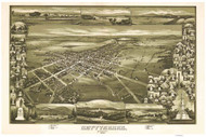 Gettysburg, Pennsylvania 1888 Bird's Eye View - Old Map Reprint