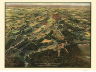 Gettysburg Battlefield, Pennsylvania 1913 Bird's Eye View - Old Map Reprint