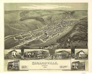 Girardville, Pennsylvania 1889 Bird's Eye View - Old Map Reprint