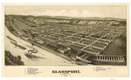 Glassport, Pennsylvania 1902 Bird's Eye View - Old Map Reprint