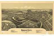 Grove City, Pennsylvania 1901 Bird's Eye View - Old Map Reprint