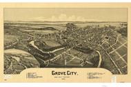 Grove City, Pennsylvania 1901 Bird's Eye View - Old Map Reprint