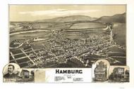 Hamburg, Pennsylvania 1889 Bird's Eye View - Old Map Reprint