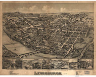 Lewisburg, Pennsylvania 1884 Bird's Eye View - Old Map Reprint