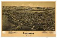 Ligonier, Pennsylvania 1900 Bird's Eye View - Old Map Reprint