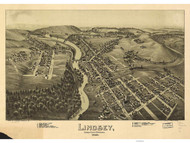 Lindsey and Punxsutawney, Pennsylvania 1895 Bird's Eye View - Old Map Reprint