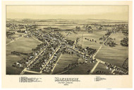 Macungie, Pennsylvania 1893 Bird's Eye View - Old Map Reprint