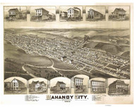 Mahanoy City, Pennsylvania 1889 Bird's Eye View - Old Map Reprint