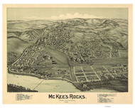 McKeesRocks, Pennsylvania 1901 Bird's Eye View - Old Map Reprint