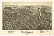 Myersdale, Pennsylvania 1900 Bird's Eye View - Old Map Reprint