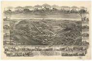 Mohnsville, Pennsylvania 1898 Bird's Eye View - Old Map Reprint