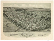 Monaca, Pennsylvania 1900 Bird's Eye View - Old Map Reprint
