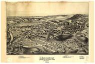 Moosic, Pennsylvania 1892 Bird's Eye View - Old Map Reprint