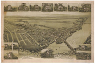 Morrisville, Pennsylvania 1893 Bird's Eye View - Old Map Reprint