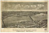 Morrisville Island, Pennsylvania 1900 Bird's Eye View - Old Map Reprint
