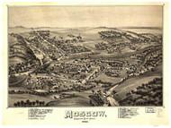 Moscow, Pennsylvania 1891 Bird's Eye View - Old Map Reprint
