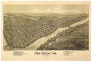 New Brighton, Pennsylvania 1901 Bird's Eye View - Old Map Reprint