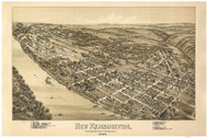 New Kensington, Pennsylvania 1896 Bird's Eye View - Old Map Reprint