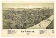 New Kensington, Pennsylvania 1902 Bird's Eye View - Old Map Reprint