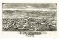 Newmanstown and Sheridan, Pennsylvania 1898 Bird's Eye View - Old Map Reprint