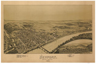 Newport and East Newport, Pennsylvania 1895 Bird's Eye View - Old Map Reprint