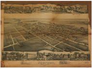Newtown, Pennsylvania 1893 Bird's Eye View - Old Map Reprint