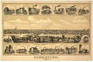 Norristown, Pennsylvania 1881 Bird's Eye View - Old Map Reprint