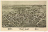 North East, Pennsylvania 1896 Bird's Eye View - Old Map Reprint