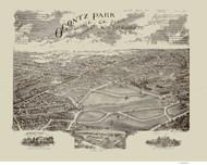 Ogontz Park, Pennsylvania 1880 Bird's Eye View - Old Map Reprint